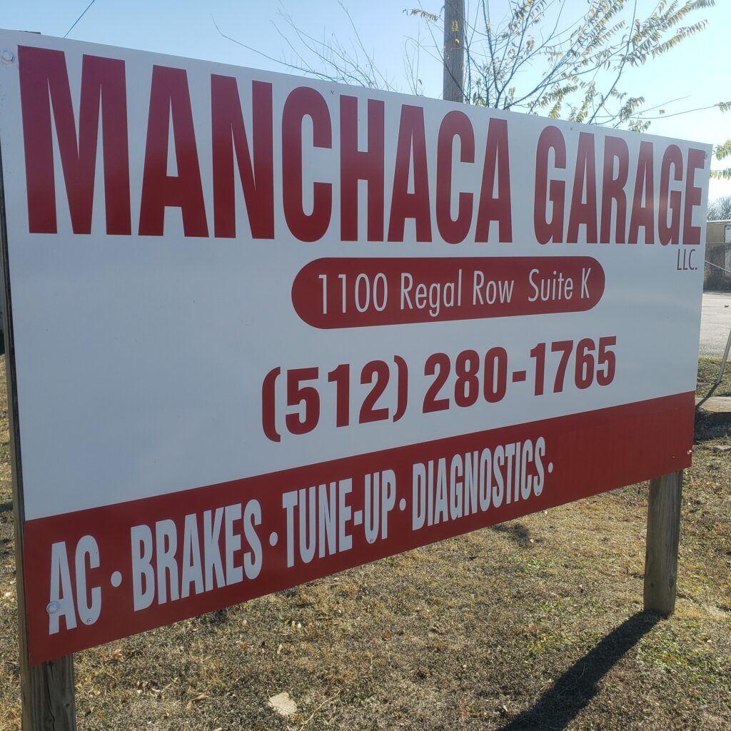 manchaca garage sign